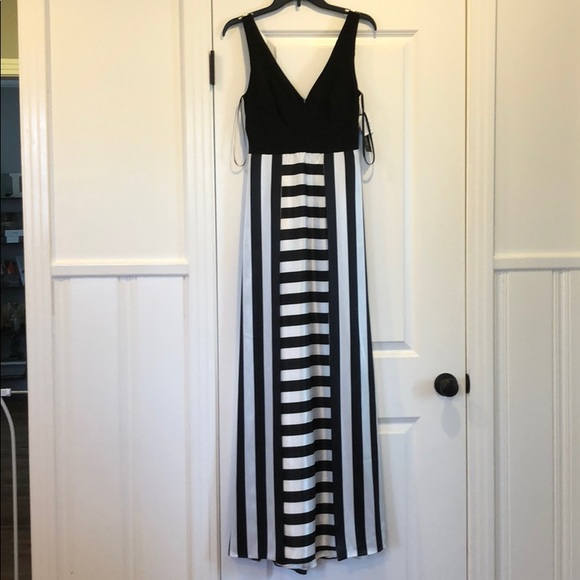 Betsy & Adam Dresses   Formal Black White Striped Gown   Poshmark